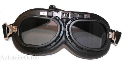 102 Oldtimer Motorradbrille Fliegerbrille Schwarz