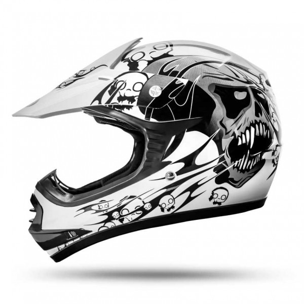 Skulletti Boys and Girls Kinder Enduro Helm White ECE 2205