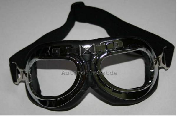 104 Oldtimer Brille Chrom Glas klar