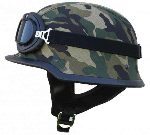 WHG Wehrmachts Helm Motorradhelm mit Brille Camouflage