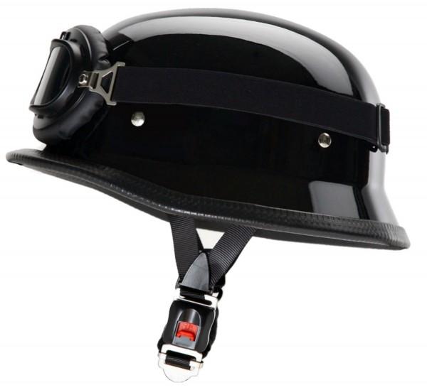 ATO WH1 GL - Stahlhelm & Brille - Schwarz glänzend
