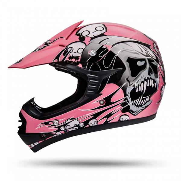 Skulletti Girls Kinder Enduro Helm Pink ECE 2205